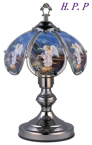H.P.P. 14.3''H NEW Glass Angel Touch Table Lamp w/ Dark Chrome Finish Base