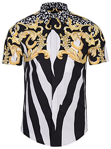 Buy black white print dress - 5