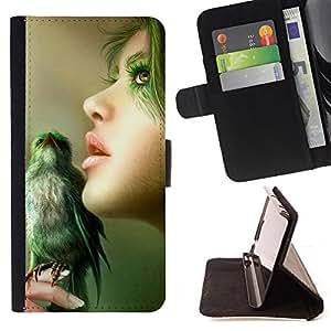 BullDog Case - FOR/Apple Iphone 6 PLUS 5.5 / - / nature green bird woman portrait profile /- Monedero de cuero de la PU Llevar cubierta de la caja con el ID Credit Card Slots Flip funda de cuer