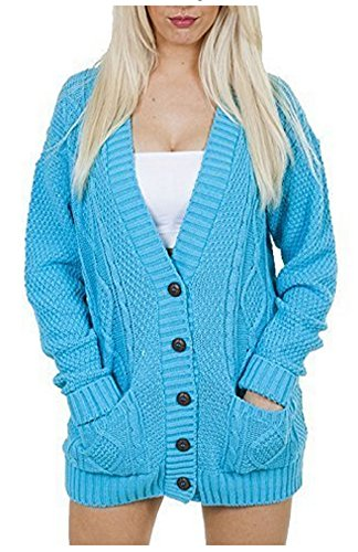 Knit Cardigan (OgLuxe Women's Ladies Long Sleeve Pocket Cable Knit Chunky Cardigan Size 6-24 (XL/XXL (UK 20-22 EU 48-50 US 16-18), Turquoise))