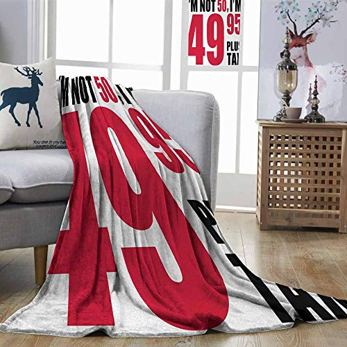 (Zmstroy Lightweight Blanket 50th Birthday Hilarious Catchphrase Old Age Fifthy Feeling Young Humorous and Funny Red Black White Blanket for Sofa Couch Bed W54)