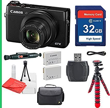 Amazon Com Canon Powershot G7x With 32gb Sdhc Sd Memory Card Class 10 Cleaning Pen Camera Case Flexible Tripod Deluxe Package International Version No Warranty Camera Photo
