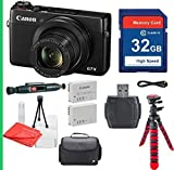 Canon PowerShot G7X with 32GB SDHC SD Memory Card Class 10, Cleaning Pen, Camera Case, Flexible Tripod Deluxe Package - International Version (No Warranty)