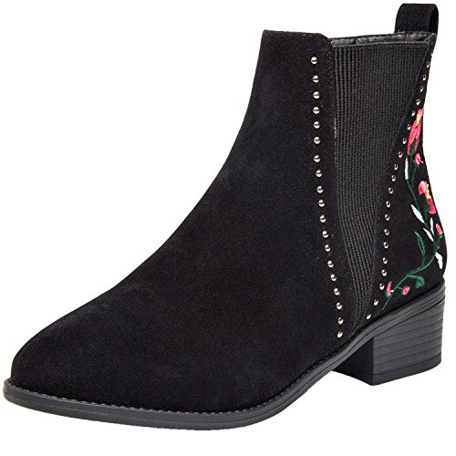 Aukusor Women's Ankle Boots, Low Heel Short Boots for Ladies, Slip on Side Zipper Martin Boots for Girls, Work Shoes for Women (8, Black Suede) - Kid Suede Short Boots