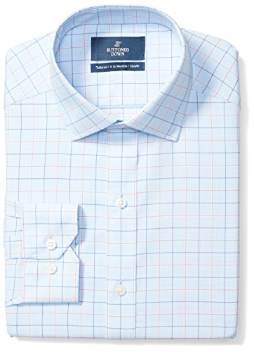 (BUTTONED DOWN Men's Tailored Fit Spread-Collar Pattern Non-Iron Dress Shirt, Blue/Orange Tattersall Check, 16.5