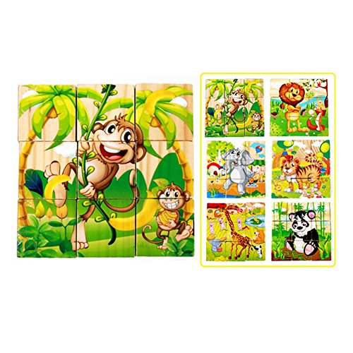 Aodewe Six Face Jigsaw Painting Toy Children Animal Pattern Cube Block Jigsaw Puzzles Games ()