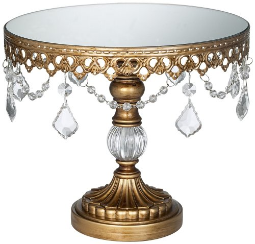 Antique Gold Crystal Mirror Top 8 1/2x10 Round Cake (Glass Wedding Cake Top)