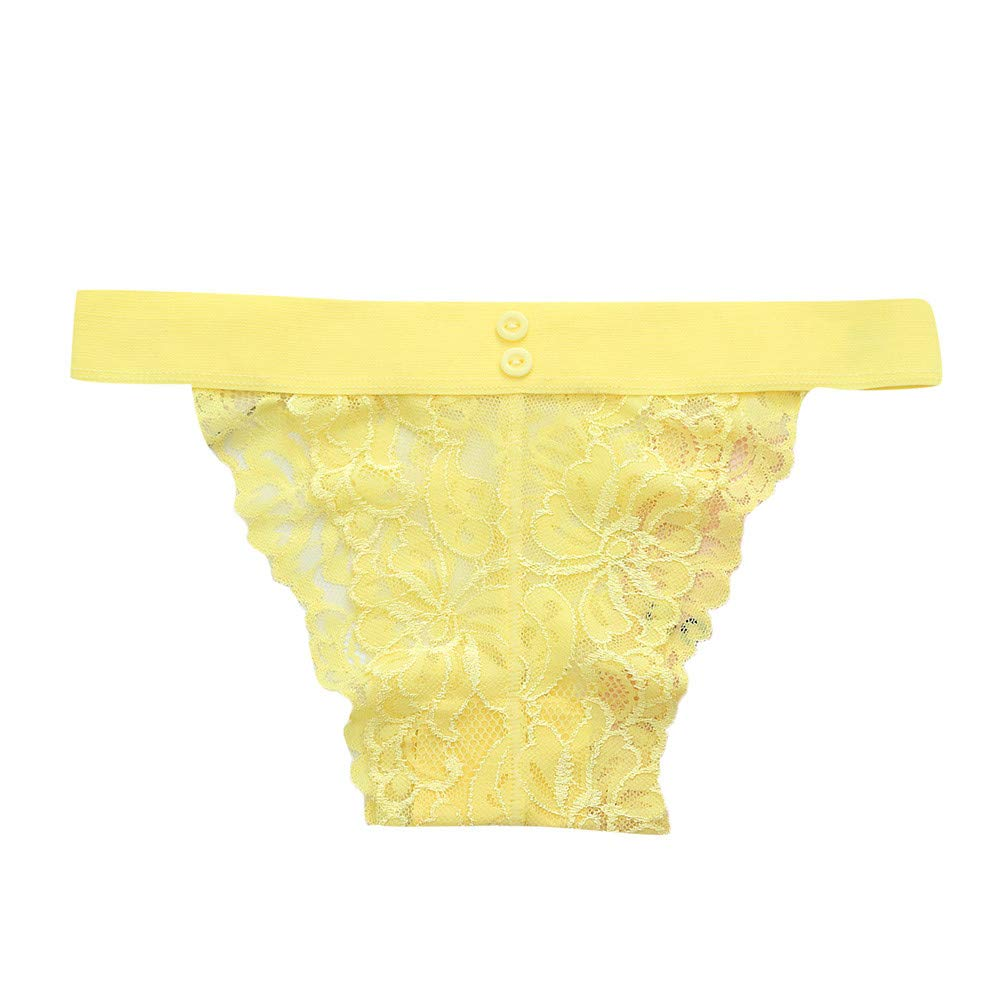 Womens Lace Underwear FEDULK Sexy Brief Breathable Panty Thongs Comfortable Button Soft Lingerie Hipster(Yellow, One Size)