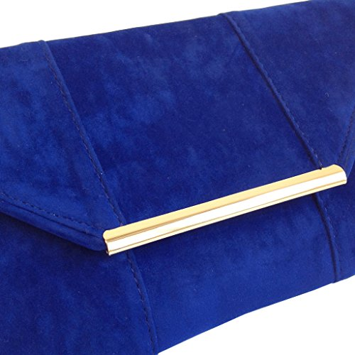 Blue Microsuede Envelope Faux Clutch Royal OPnw67vqf
