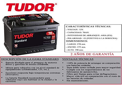 Bateria Tudor 70ah 640a En D Gama Standard 2 Anos De Garantia Coche Furgoneta Suv 4x4 Maxima Calidad Medidas Largo 278mm Ancho 175mm Alto 190mm