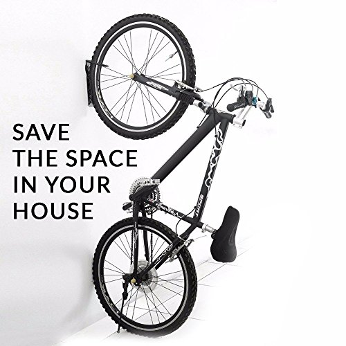 Newdoar Heavy Duty Solid Steel Wall Ceiling Bike Rack to Save the Space in Your Home Super Easy to Install with Provided Mounting Hardware Vibrant Black