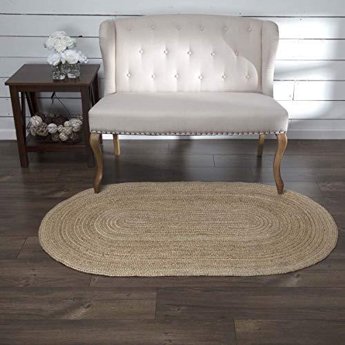 Coastal Farmhouse Flooring - Natural Jute Tan Oval Rug, 3' x 5'