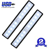 Us Cabinet Motion Sensor Light Rechargeable Closet Light for Closet, Drawer, Counter, Cabinet, Cupboard - Stick On Anywhere LED Light Bar with Magnetic Strip, 10-LED, USB Powered, White Light, 2 Pack