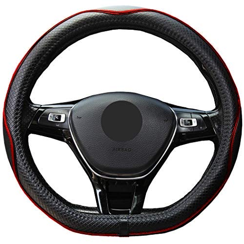 Mayco Bell Microfiber Leather Steering Wheel Cover (D-Shape,Black Red)