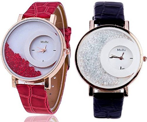 3affde9d0 Buy NEO VICTORY Combo Diamond Analogue White Dial Black and Red Women's  Watch Online at Low Prices in India - Amazon.in