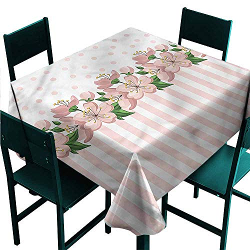 (DONEECKL Square Tablecloth Dusty Rose Polka Dots and Stripes Table Decoration W50 xL50)