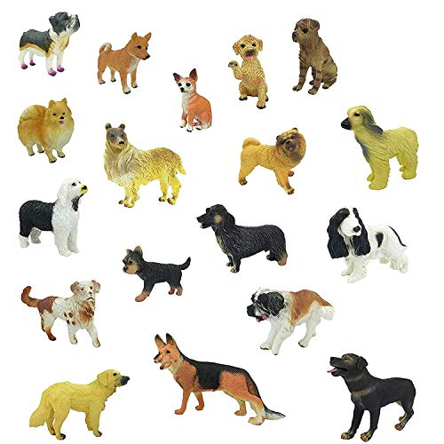 Dog Collectible Figurine (Liberty Imports Set of 18 Large Deluxe Dog Figurines, Toy Puppy Figures Canine Bulk Animal Variety Gift Pack (4-Inches))