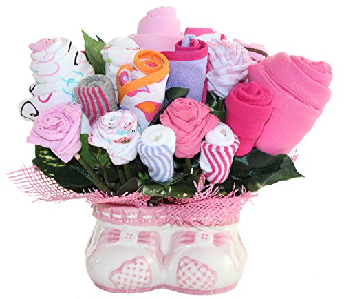 Baby Girl Bouquet Made Out Of Baby Clothes And Accessories, Baby Planter - Makes A Unique And Practical New Baby Gift - Creative Baby Shower Decoration Or Centerpiece (Practical Gifts For New Parents)