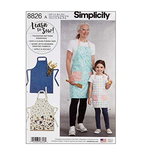 Simply Creative Group Simplicity 8826 Child's and Misses' Aprons A (Sizes S-L/S-L) Multi ()