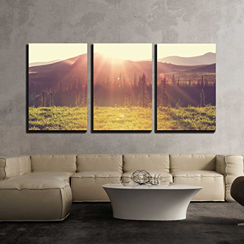 wall26 - 3 Piece Canvas Wall Art - Tundra Landscapes Above Arctic Circle - Modern Home Decor Stretched and Framed Ready to Hang - 16