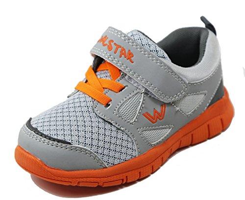 Walstar Boys Athletic Velcro Strap Light Weight Running Shoes, Size 9 M US Toddler, Grey/Orange