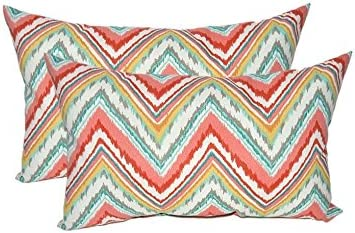 Set of 2 – Indoor Outdoor Rectangle Lumbar Decorative Throw Toss Pillows Bright Colorful Watermelon Chevron