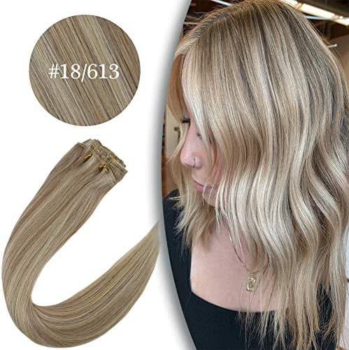 VeSunny Clip in Hair Extensions Blonde Human Hair 18inch Color #18 Ash Blonde Mixed #613 Bleach Blonde Highlighted Hair Extensions Clip in Real Human Hair 7pcs 120G