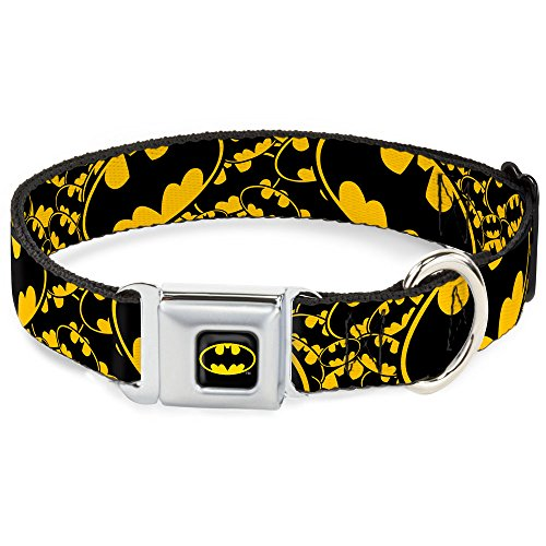 Buckle-Down DC-WBM023-S BMC Batman Black/Yellow Dog Collar, Small/9-15