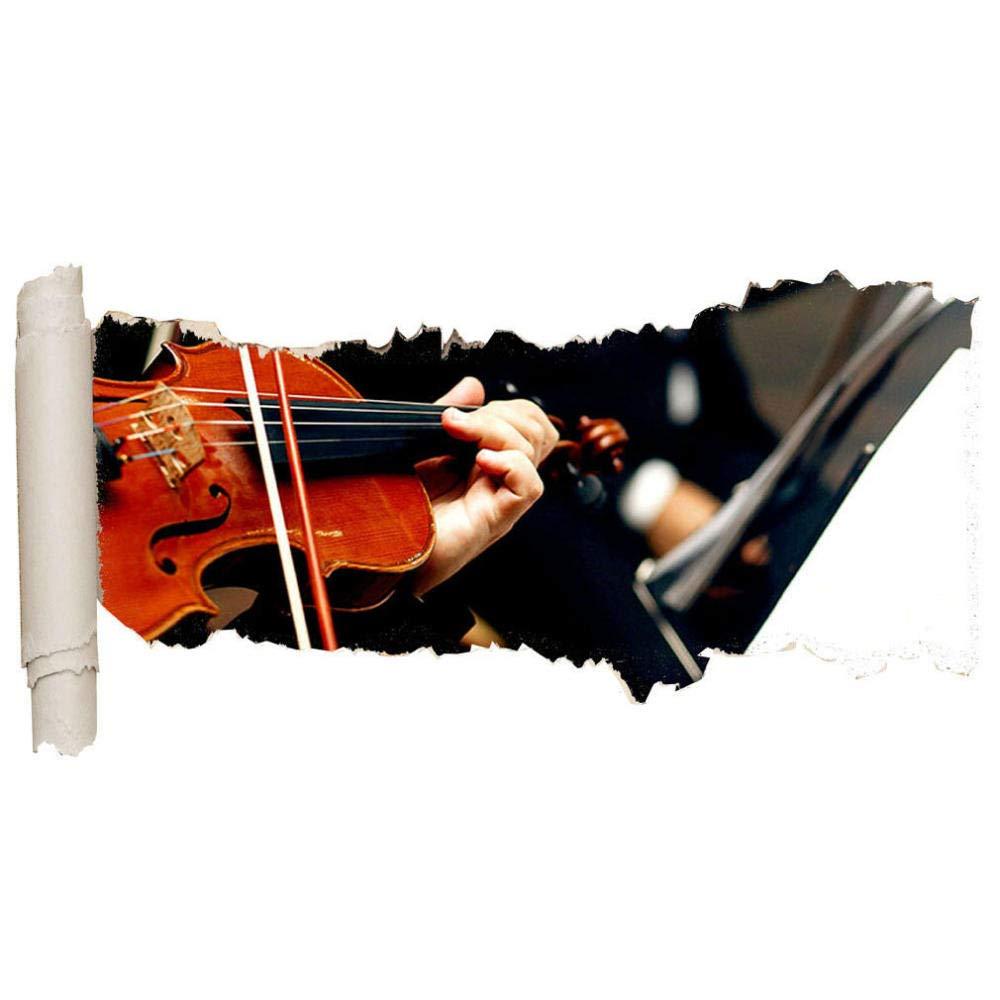 가족 벽 장식 데칼 벽 스티커 바이올린 악보 오케스트라 거대한 찢어진 구멍 소녀 소년