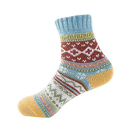 VJGOAL Invierno mujer de moda casual Vintage liso tejido fino impresion suave gruesa calcetines de lana de punto calido(Un tamano,A