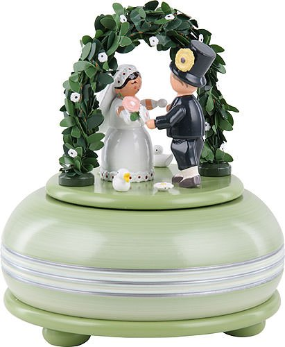 German KWO Wooden Small Musical Box '' Hochzeitsfest / Wedding Party '' 15 cm / 5.9'' inch Toys From Erzgebirge - Ore Mountains