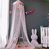 Bed Canopy for Girls Bed Decoration for Baby, Kids, Girls Or Adults, As Mosquito Net Use to Cover The Baby Crib, Kid Bed, Girls Bed Or Full Size Bed,Crib Canopy with Stars Decoration