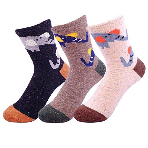 JOYCA & Co. 3 Pairs Women Cute Animal Design Novelty Casual Soft Wool Cotton Socks (Cute ()