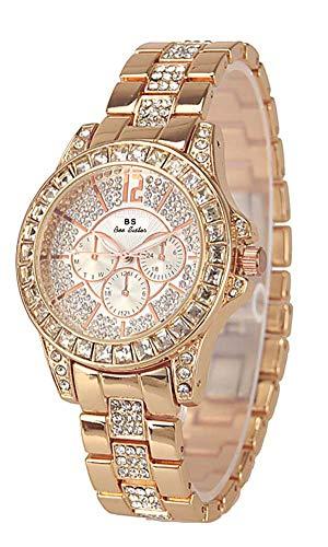 Dyshuai Shining Bling Diamond Men's Women's Wrist Watch (Rose ()