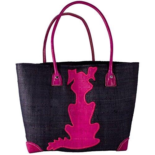 Madaraff Handmade Raffia Shopping Bag Black With Pink Dog Small