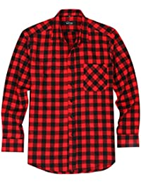 "<span class=""a-offscreen"">[Sponsored]</span>Men's Cotton Long Sleeve Plaid Flannel Checkered Shirt"