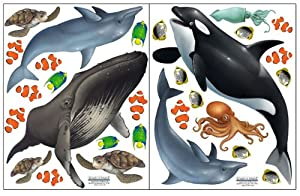Create A Mural : Ocean Wall Stickers ~Under Water Sea Wall Decals (29) Peel  U0026 Stick For Kids Room Walls Part 17