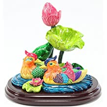 Feng Shui Mandarin Ducks in Lotus Pond 鸳鸯戏水 Statues Figurines Marriage Luck Wedding Gift Home Decor Housewarming Congratulatory Gift US Seller