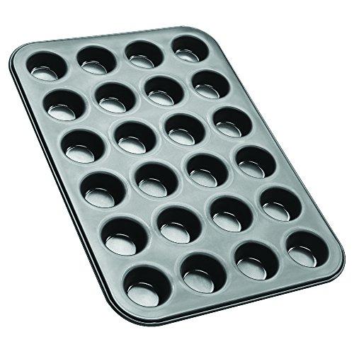 Zenker 6541 Mini-Muffin Tin for 24 Muffins, Black/Metallic, 15.16 x 10.43 x 0.79