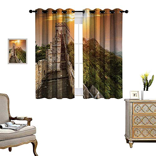 Anyangeight Great Wall of China Patterned Drape for Glass Door The Magnificent Heritage of World Background Brick Borders Picture Waterproof Window Curtain W55 x L39 Orange Green
