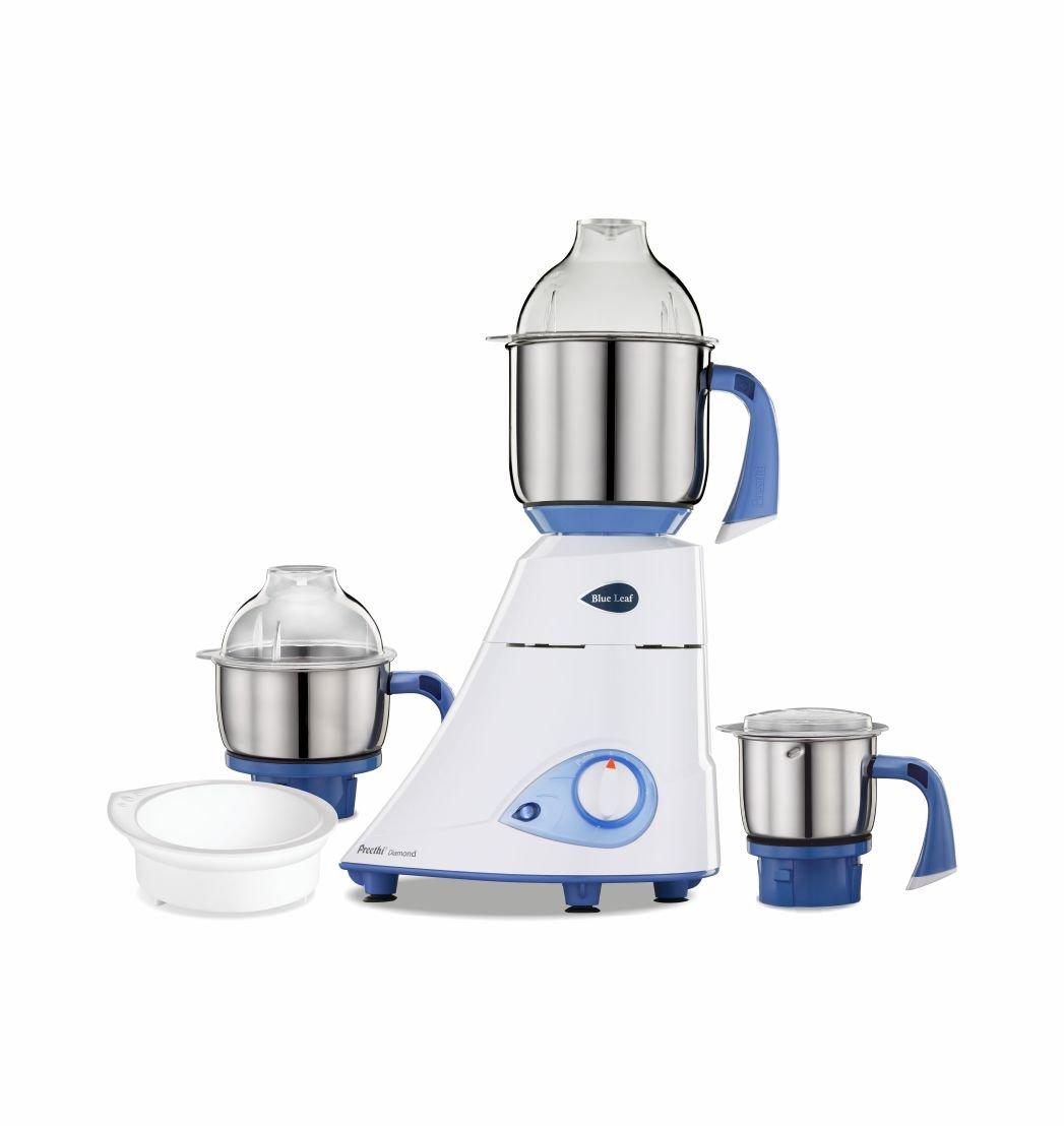 Preethi Blue Leaf Diamond 750 W Mixer Grinder  (Blue/white, 3 Jars)