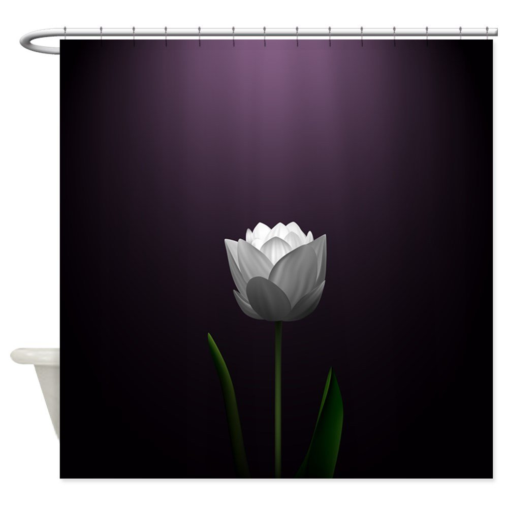 Black fabric shower curtains - Amazon Com Cafepress Dark Purple Lotus Blossom Decorative Fabric Shower Curtain Home Kitchen