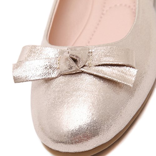 Shoes Egg Roll Bowknot Round soled Sweet Fortuning's headed Soft Gold Casual Princess JDS Women's vx7CnqUnwZ