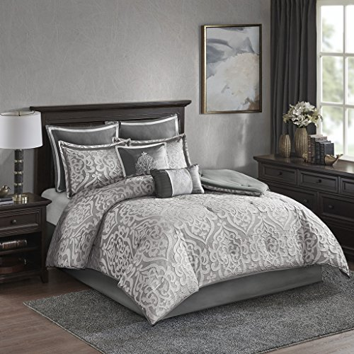 Madison Park Odette 8 Piece Jacquard Comforter Set Silver King Charmeuse Satin Comforter Set