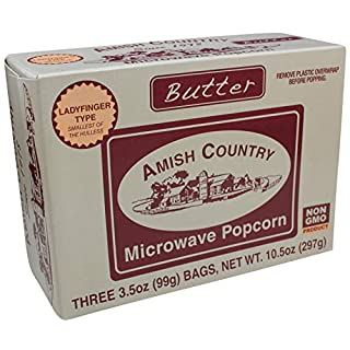 Amish Country Popcorn | Old Fashioned Microwave Popcorn | Old Fashioned with Recipe Guide (Ladyfinger Butter, 3 Bags)