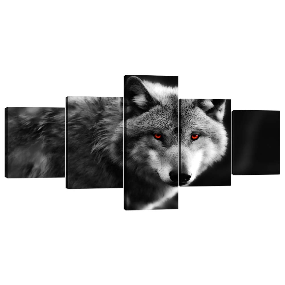 Artwork-17 50''W x 24''H Yatsen Bridge 5 Panels Modern Wolf Canvas Wall Art Black and White Wolf Picture Prints on Stretched and Framed Giclee Wall Art Print Ready to Hang for Home Decor - 60''W x 32''H