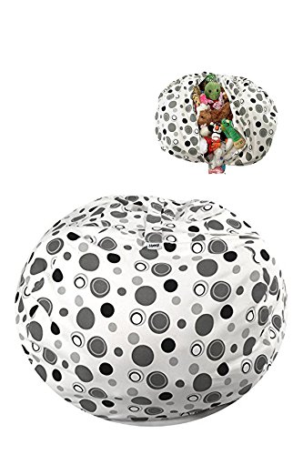 JAMMB Bags EXTRA Large Stuffed Animal Bean Bag Storage for Kids & Teens | Stylish Color Design | Comfortable 38'' Cotton Canvas in Modern Grey Polka Dots by JAMMB Bags