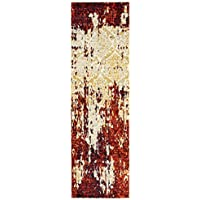 LR Resources MATRI81159BYC2175 Matrix Runner LR81159-BYC2175 Rectangle 2 1 in x 7 ft 5 in Indoor Rug, 21 x 75, Burgundy/Cream