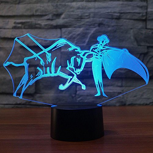 3D Spain Bullfight Night Light Touch Table Desk Optical Illusion Lamps 7 Color Changing Lights Home Decoration Xmas Birthday Gift by VZND