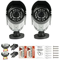 iSmart 2-Pack 700TVL Color Heavy Duty Surveillance CCTV Camera Security System Kit with 60ft extension cable 12v power supply, 3.6mm Lens, with 30 IR Leds night vision up to 100ft, C1006DP7